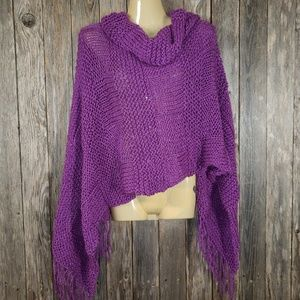 Purple Metallic Hand Knitted Shawl Scarf Wrap New